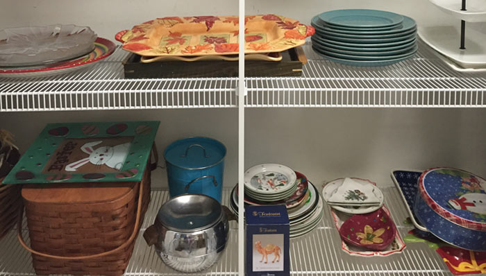 ORGANIZING SEASONAL PLATTERS, DISHES & LINENS